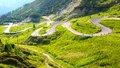 Dolomites  landscape with mountain road. Royalty Free Stock Photo