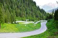 Dolomites  landscape with mountain road. Royalty Free Stock Images