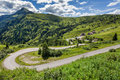 Dolomites landscape with mountain road. Italy Royalty Free Stock Photo