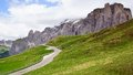 Dolomites landscape with mountain road picturesque italy Royalty Free Stock Photography