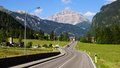 Dolomites landscape with mountain road picturesque italy Stock Photos