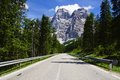 Dolomites landscape with mountain road picturesque italy Royalty Free Stock Photos