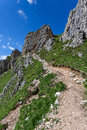 Dolomites mountain in summer paths and majestic views of the italy Stock Images
