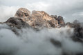 Dolomites mountains in the clouds area of paternkofel italy Royalty Free Stock Image