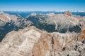 Dolomites mountains cristallo mountain italy view from the peak of the cima di mezzo along the via ferrata called marino bianchi Stock Images