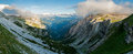Dolomites mountains italy panorama panoramic view of the in the area of the paternkofel and lavaredo valley Stock Image
