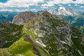 Dolomites mountains view from formin the top of mountain situated in the italy Stock Image
