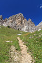 Dolomites, path beneath Cirspitzen mount Stock Photography