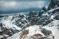 Dolomites rock coloros of the of in a winter cloudy day Royalty Free Stock Image