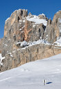 Dolomites signboard only in the snow of the Stock Image
