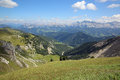 The dolomites view from bronsoijoch to fanes group south tyrol italy Royalty Free Stock Images