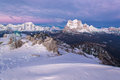 Dolomites in winter during the sunrise Stock Images