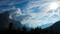 Dolomiti of cortina d ampezzo surrounded by clouds Stock Image