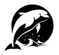Dolphin black and white vector illustration of a above water Royalty Free Stock Images