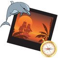 Dolphin compass and photoframe travel vector illustration with Royalty Free Stock Photography