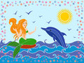 Dolphin and mermaid in the sea waves as a mythical girl on warm season hand drawing vector illustration Stock Photography