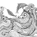 Dolphin and narwhal and ocean waves coloring page for children a