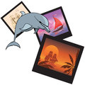 Dolphin and photoframes travel vector illustration with Royalty Free Stock Photos