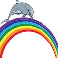 Dolphin and  rainbow Royalty Free Stock Photo