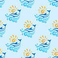 Dolphin with sea, waves & sun - vector background - seamless pattern. Royalty Free Stock Photo