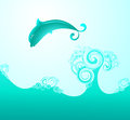 The dolphin in sea waves. Vector. Stock Photo