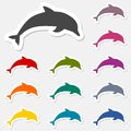 Dolphin stickers set