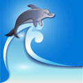 Dolphin on the wave flyer template with jumping Stock Photography
