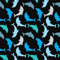 Dolphins seamless background. Dolphin seamless pattern background vector illustration. Royalty Free Stock Photo