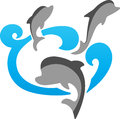 Dolphins vector illustration of logo Stock Images