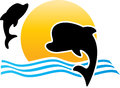 Dolphins vector illustration of logo Royalty Free Stock Images
