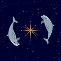 Dolphins, windrose, Ursa Major and Southern Cross