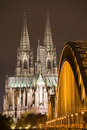 Dom in Cologne at night lighting Royalty Free Stock Photo