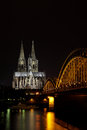 Dom in cologne the railroad bridge Royalty Free Stock Photos