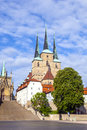 Dom hill with St. Severus Church in Erfurt Germany Stock Images