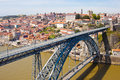 Dom luis bridge in porto and old city Stock Image