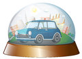 A dome with a blue car illustration of on white background Stock Image
