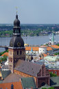 Dome cathedral in riga latvia europe view from the tower of st peter s church Stock Photo
