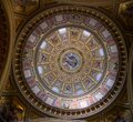 Dome of Catholic Cathedral inside with painting mural and frescoes, Budapest. Royalty Free Stock Photo