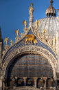 Dome facade san marco basilica venice italy the and with saint statues of the church under a blue summer sky in venezia italia Stock Image