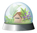 A dome with a native house inside illustration of on white background Stock Images