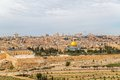 Dome of the rock in beautiful panorama jerusalem from mount olives Stock Photography