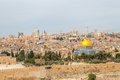 Dome of the rock in beautiful panorama jerusalem from mount olives Royalty Free Stock Photography