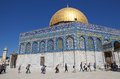 Dome of the rock mosque muslim students are visiting at temple mount jerusalem israel Royalty Free Stock Image