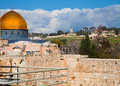 Dome of the rock and temple mount with snow view in jerusalem melting Royalty Free Stock Photos