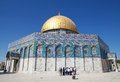Dome of the rock tourist are visiting at temple mount jerusalem israel Royalty Free Stock Photo
