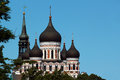 Domes of Alexander Nevsky Orthodox Cathedral and spire of St. Mary Church in the Old Town of Tallinn, Estonia Royalty Free Stock Photo