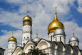 Domes archangel cathedral ivan the great belltower of s and kremlin moscow russia Royalty Free Stock Photos