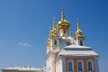 Domes of the chapel next to the palace great in petergof st petersburg Stock Photography