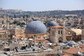 Domes of the church of the holy sepulchre and bell tower from phasael tower tower david old city Stock Photos