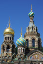 Domes of Church of the Savior on the Spilt Blood Stock Photo